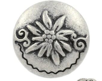 5de2a5e7e9f Metal Buttons - Edelweiss Antique Silver Metal Shank Buttons - 0.79 inch -  6 pcs