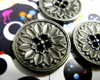 ARGENTO antico bottoni in metallo con fucile corona motivo 20mm 5 PZ