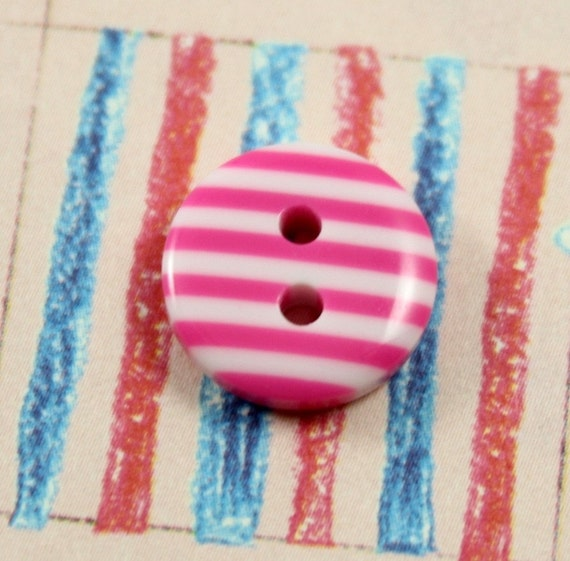 Two Pink and Clear Striped Buttons
