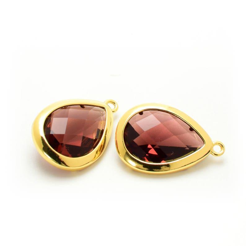 Gold Plated over Brass Bezel. 2 Drop Vintage Rose Crystal Glass Pendant D0190595 20mm