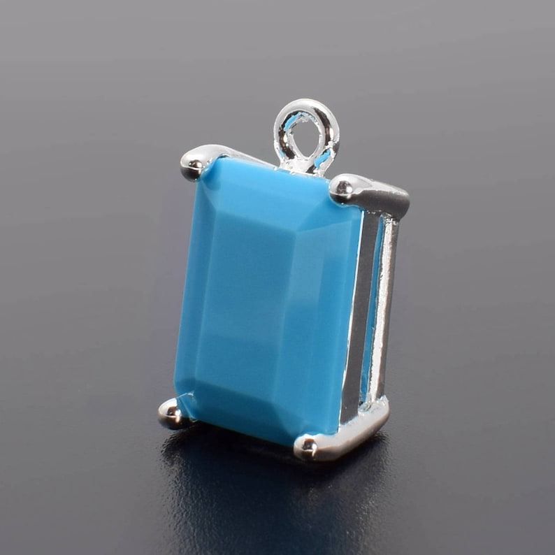 Silver Plated over Brass Prong Setting. 2 Rectangle Blue Ceramics Crystal Glass Pendant R1020287 14mm