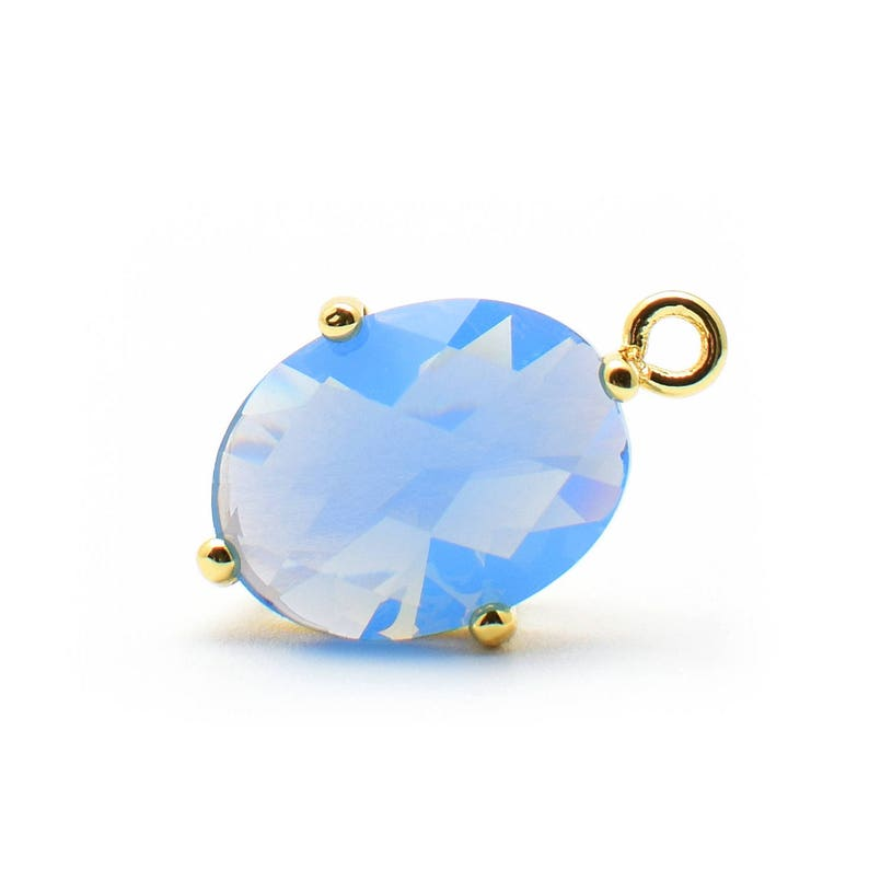 Gold Plated over Brass Prong Setting. O0020173 2 Oval Blue Opal Crystal Glass Pendant 16mm