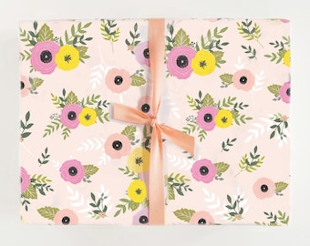 Floral gift wrap etsy pink floral gift wrap mightylinksfo