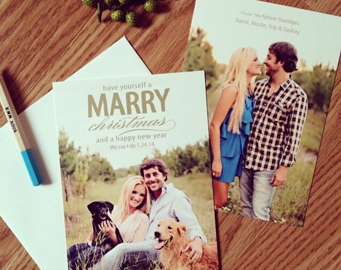 Have a very Marry Christmas Save the Date Card and envelopes