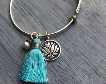 Tassel Bracelet, Lotus Bracelet, Adjustable Bracelet, Silver Bracelet, Yoga Bracelet, Expandable Bracelet