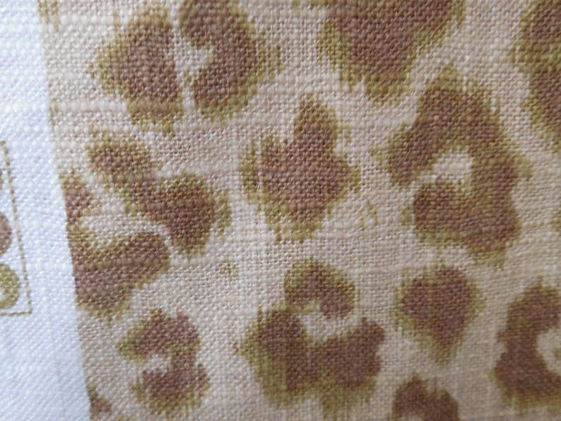 CHEETAH Print avocado green-tan Linen,designer multipurpose fabric