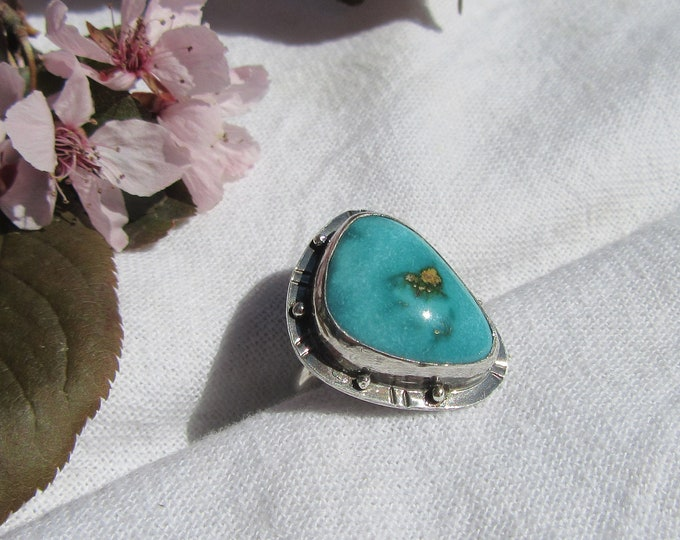 Handmade Oxidized Sterling Silver and Fox Mine Turquoise Ring Size 6.5