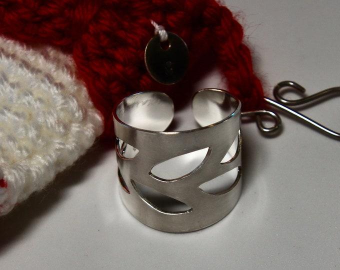 Handmade Leaf Sterling Silver Scarf Shawl Slide