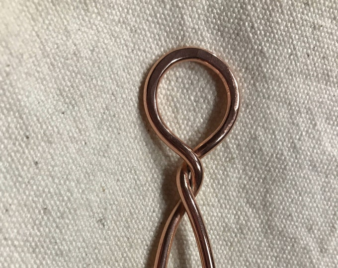 Twisted Copper or Sterling Silver Hair Stick, Handmade, Solid Copper Hair Pin, Sterling Silver Hair Pin, Shawl Stick