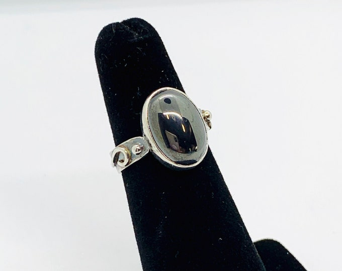 Hematite Pinky Ring Size 4 Handmade Sterling Silver Antiqued Ring