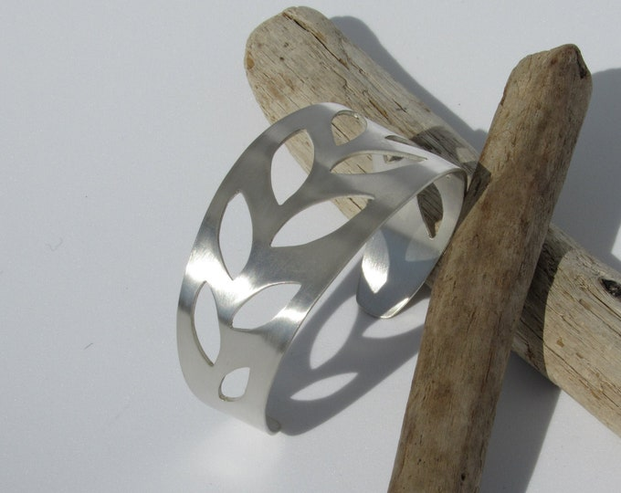 Leaf Cuff Handcrafted Solid Sterling Silver Cuff Bracelet