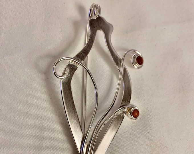 Urn Series Shawl Sweater Pin Fibula  Urn 2 Handcrafted Sterling Silver with Natural Stone Cabochon