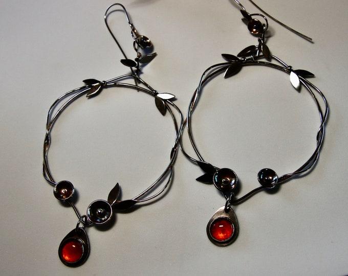 Vine Flower Hoop Earrings Sterling Silver and Amber