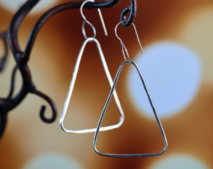 Handcrafted Sterling Silver Forged Hammer Finish Triangle Hoop Earrings