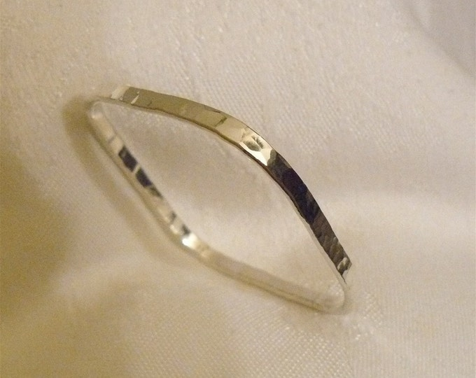 Handcrafted Forged Square Solid Sterling Silver Bangle Bracelet