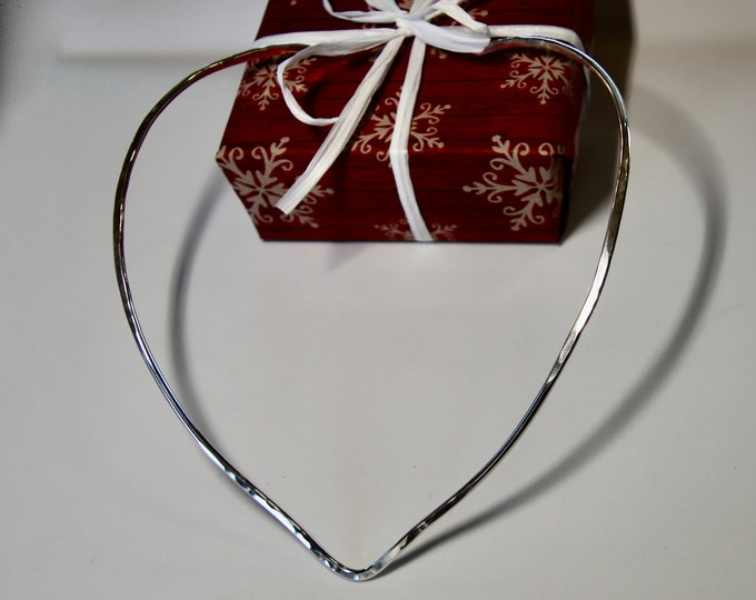 Sweetheart Torque Necklace Forged Sterling Silver