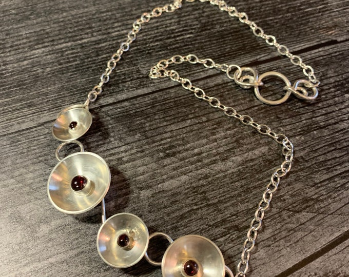 Round and Round Handmade Sterling Silver and Gemstone Necklace
