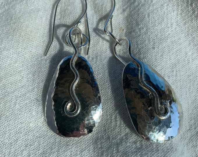 Handmade Forged Sterling Silver Dangle Earrings