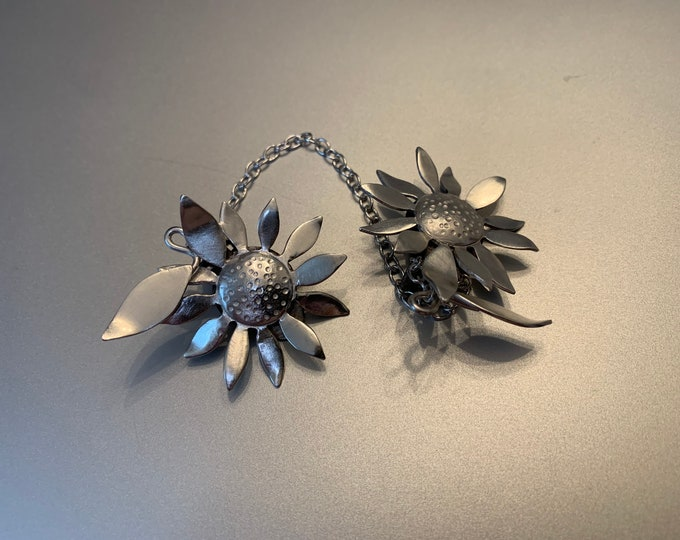 Sunflower Handmade Sterling Silver Sweater Clasp Clip