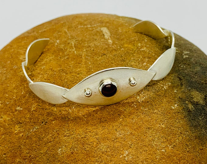 Handmade Leaf Cuff Bracelet in Sterling Silver and Garnet