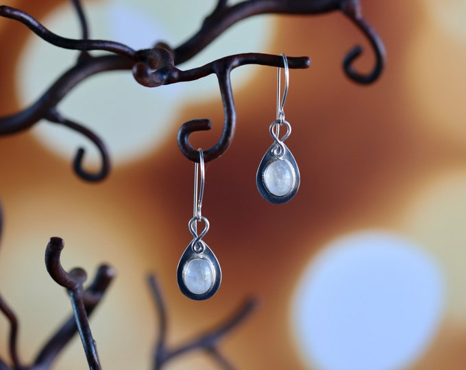 Handmade Rainbow Moonstone Drop Earrings