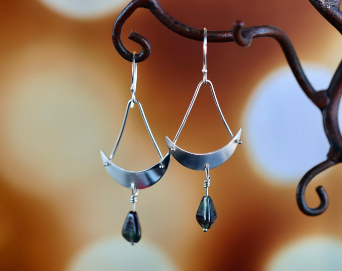 Swingin' Sterling Silver and Glass Bead Dangle Earrings