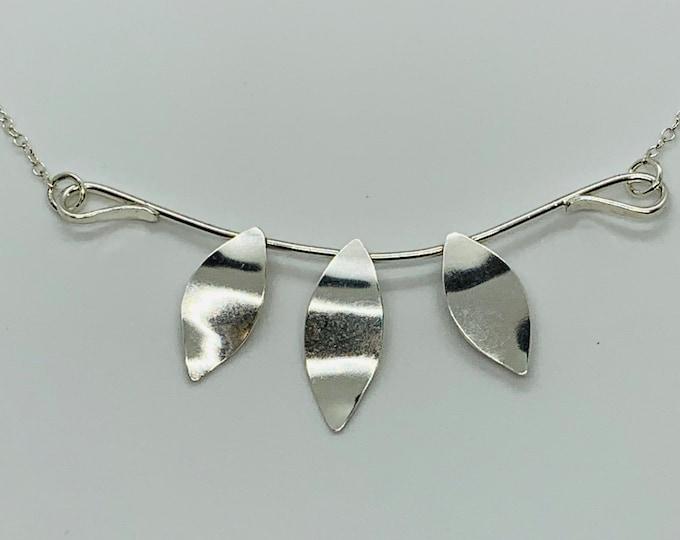 Leaf Necklace, Handmade Sterling Silver