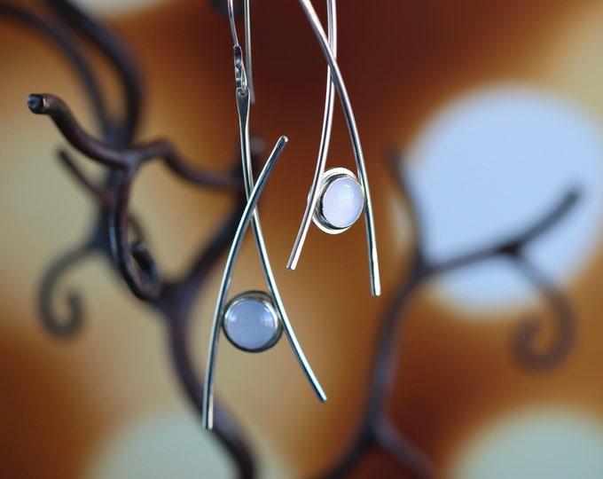 Handmade Moderna Sterling Silver and Chalcedony Earrings