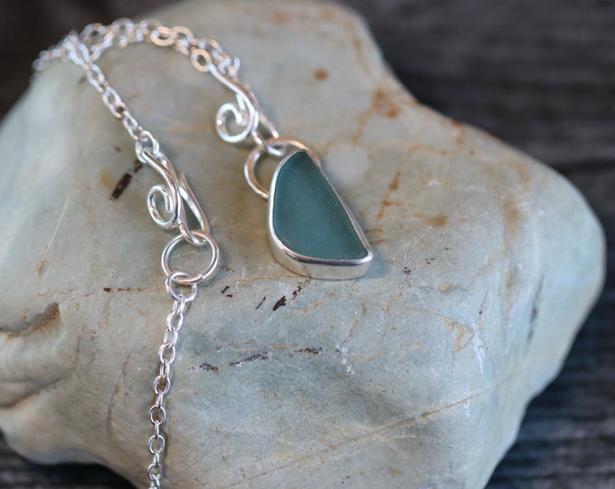 Ocean Breeze Handmade Sterling Silver and Beach Glass Summer Ocean Style Necklace
