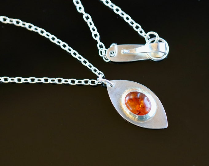 Amber Gold Handmade Sterling Silver Amber and 18k Gold Necklace