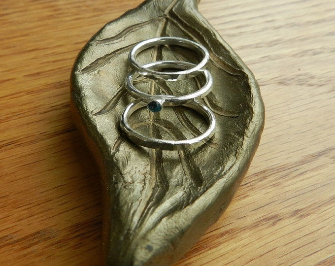 Handcrafted Forged Sterling Silver Stacking Ring, Band Ring, Wedding Ring