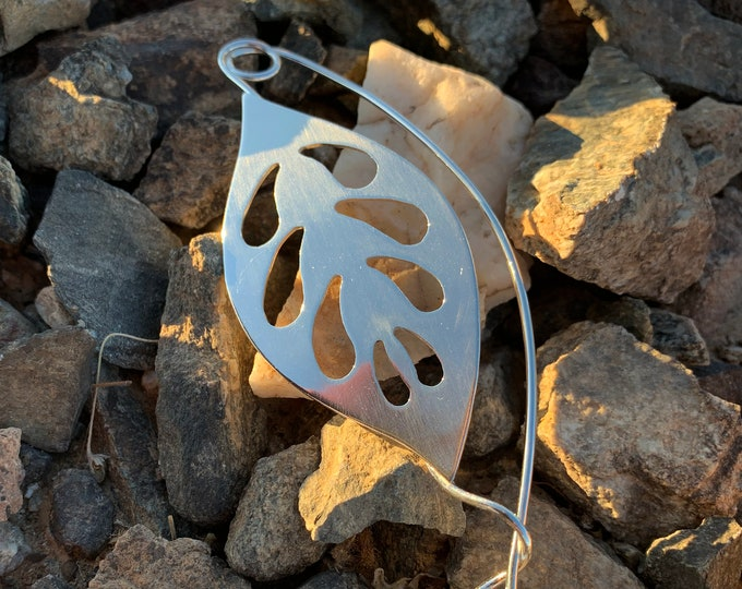 Handcrafted Solid Sterling Silver Cutwork Leaf Shawl Pin Fibula