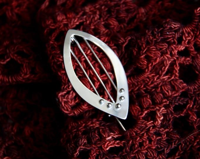 Handmade Beaded Sterling Silver Shawl Pin
