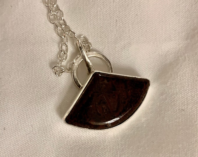 Mystique Handmade Sterling Silver and Red Gembone Dinobone Necklace