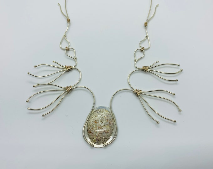 Twigged Handcrafted Sterling Silver, Rose Gold and Crazy Lace Agate Necklace