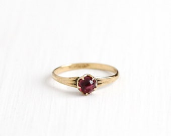 Sale - Vintage 10k Rosy Yellow Gold Garnet Ring - Art Deco 1930s Size 3 Red Purple Gemstone Pinky Midi Fine Jewelry Signed Clark & Coombs