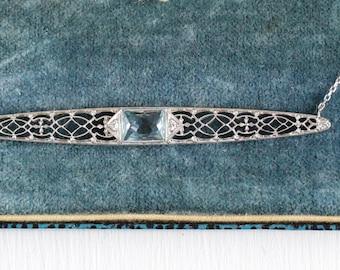 Aquamarine Diamond Necklace - Antique Art Deco 14k White Genuine Aqua Blue Gem Bar Pin - Vintage Filigree 1920s Fine Jewelry on 10k Chain