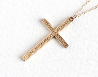 Rosy cross etsy vintage cross necklace 1940s mid century 12k rosy yellow gold filled statement pendant retro era crucifix religious faith floral jewelry aloadofball Image collections