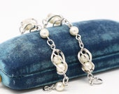 Mid Century Bracelet - Vintage 12k White Gold Filled Simulated Pearls Panels - Circa 1950s Era Spring Ring Caged June Birthstone Jewelry