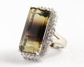 Sale - Bicolor Quartz Ring - 14k White Gold Gemstone Diamond Halo Statement - Estate Size 6 1/2 Brown Yellow Fine Cocktail Appraisal Jewelry