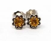 Genuine Citrine Earrings - 10k White Recycled Gold Handcrafted Pierced Flower Studs - MJV Design .40 CTW November Birthstone Fine Jewelry