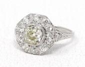 Vintage Diamond Halo Ring - Platinum 2.33 CTW Diamond Cluster Engagement - Edwardian Art Deco 1910s Size 7 Old Mine Fine Jewelry Appraisal