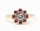 White Sapphire Engagement Ring - 10k Rosy Yellow Gold Flower Halo - Edwardian 1900s Size 10 Rose Cut Diamonds & Simulated Ruby Fine Jewelry