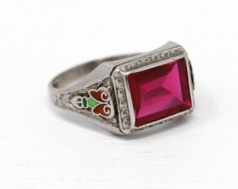 Sale - Created Ruby Ring - Vintage Art Deco 10k White Gold - 1930s Size 9 Pink Rectangular Stone Men's July Birthstone Jewelry with Enamel