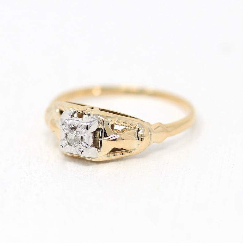Vintage Diamond Ring 14k Yellow /& White Gold Single Cut Genuine Diamond Size 6 12 Two Tone 1940s Engagement Promise 40s Fine Jewelry