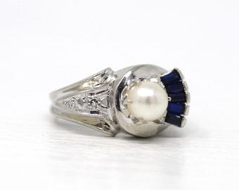 Vintage Cultured Pearl Ring - 14k White Gold & Palladium Genuine Diamond Gems - Retro 1950s Era Size 4.75 Created Blue Sapphire Fine Jewelry