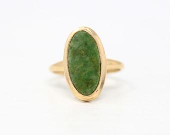 Vintage Serpentine Ring - 10k Yellow Gold Genuine Green Gemstone Statement - Circa 1970s Era Size 6 Unique 80s Oval Gem PSCO Fine Jewelry