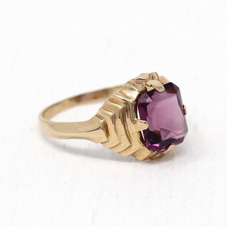b6801ba1db6b7 Sale - Simulated Amethyst Ring - Vintage 10k Rosy Yellow Gold Retro 1950s  Size 5 1/2 - Emerald Cut Purple Glass Stone Esemco Fine Jewelry