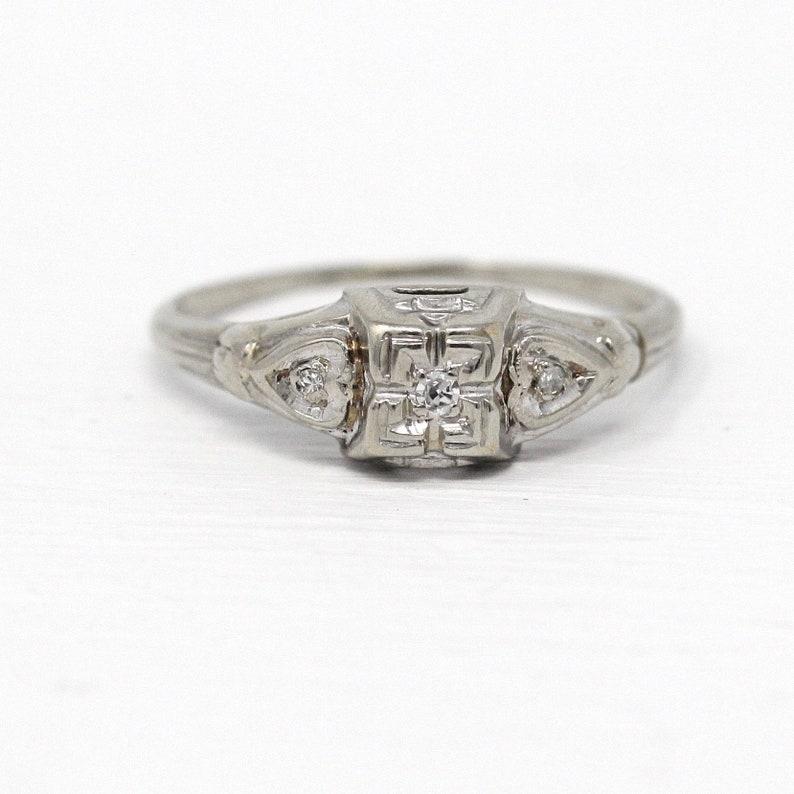 84ce7f47fdb54 Sale - Vintage Engagement Ring - 14k White Gold Three Diamond Heart Design  - Sz 6 3/4 Illusion Head 1940 Promise Wedding Dainty Fine Jewelry