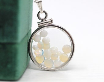 Opal Shaker Locket - Handcrafted Sterling Silver Lucite Clear Pendant Necklace Charm - October Birthstone Genuine 1.5 CTW Gemstones Jewelry